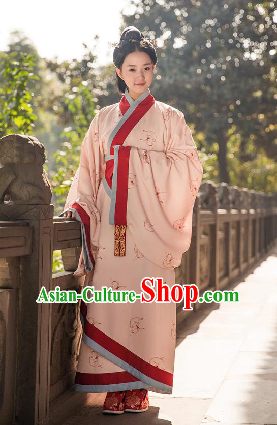 Traditional Chinese Ancient Royal Princess Hanfu Costume Pink Curve Bottom, Asian China Han Dynasty Palace Lady Embroidered Dress for Women