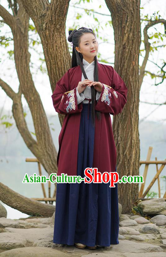 Traditional Chinese Ancient Royal Princess Hanfu Costume Red Curve Bottom, Asian China Han Dynasty Palace Lady Embroidered Dress for Women