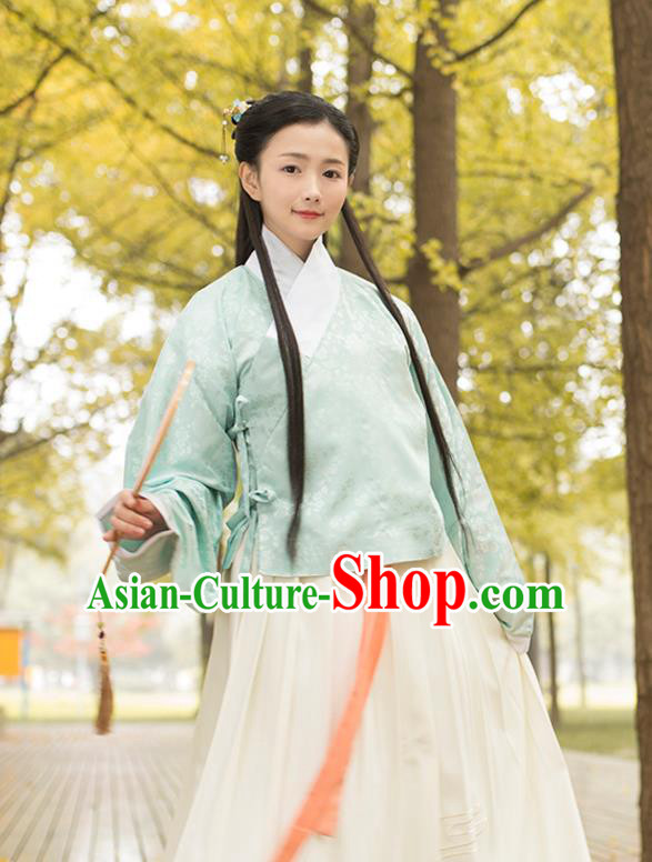 Traditional Chinese Ancient Young Lady Hanfu Costume, Asian China Ming Dynasty Princess Slant Opening Embroidered Green Blouse for Women