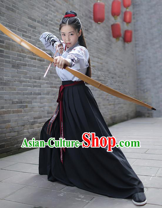 Traditional Chinese Ancient Hanfu Swordswoman Costume, Asian China Ming Dynasty Imperial Bodyguard Embroidered Clothing for Women