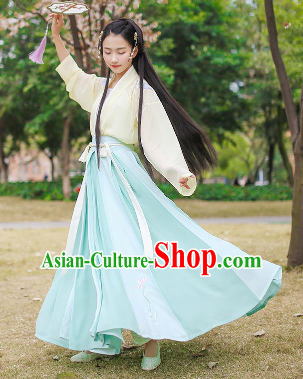 Traditional Chinese Ancient Hanfu Princess Costume, Asian China Song Dynasty Palace Lady Embroidered Blue Slip Skirt for Women