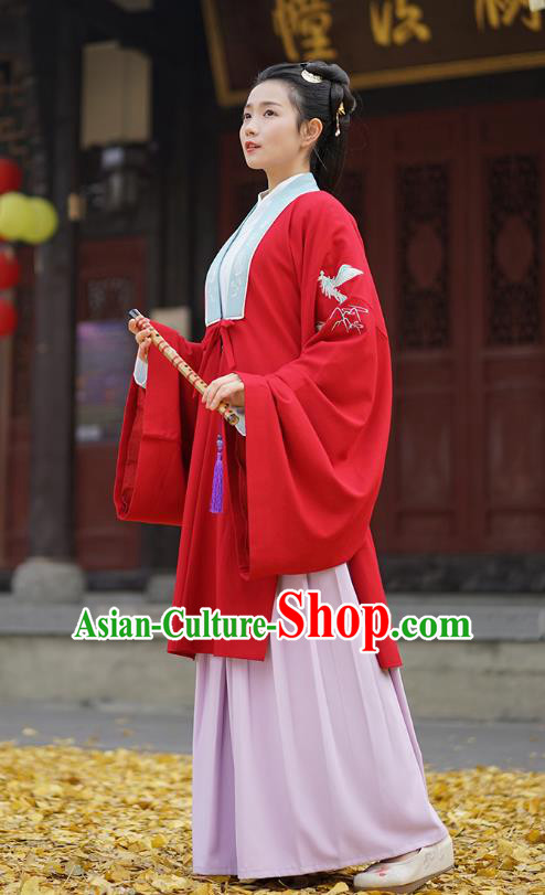 Traditional Chinese Ancient Hanfu Princess Costume, Asian China Han Dynasty Palace Lady Embroidered Crane Red Cloak for Women