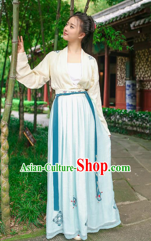 Traditional Chinese Ancient Hanfu Princess Costume, Asian China Song Dynasty Palace Lady Embroidered Blouse and Slip Skirt for Women