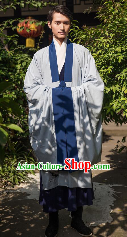 Traditional Chinese Ancient Hanfu Swordsman Costume, Asian China Han Dynasty Imperial Bodyguard Embroidered Grey Cloak for Men