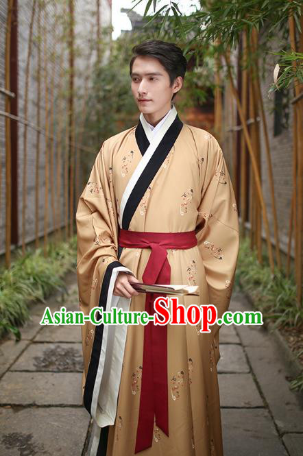 Traditional Chinese Ancient Hanfu Swordsman Costume, Asian China Han Dynasty Imperial Bodyguard Embroidered Yellow Long Robe for Men