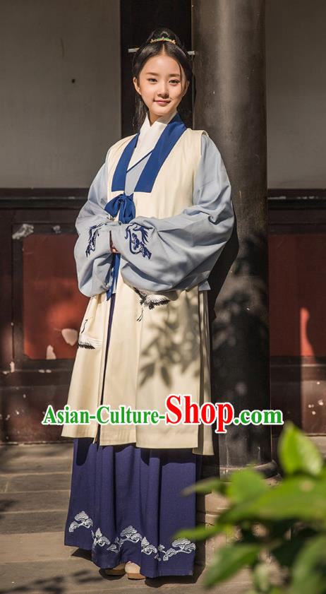 Traditional Chinese Ancient Hanfu Princess Costume Embroidered Vest, Asian China Ming Dynasty Palace Lady Clothing for Women