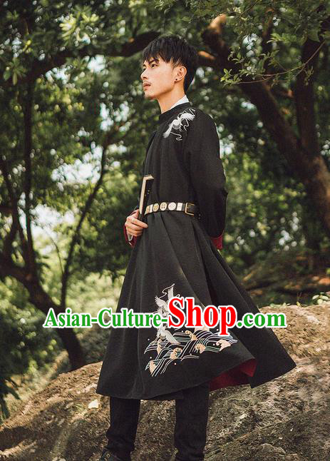 Traditional Chinese Ancient Hanfu Costume Black Robe, Asian China Han Dynasty Embroidered Clothing for Men