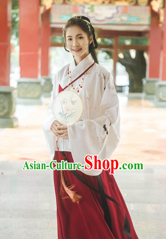 Traditional Chinese Ancient Hanfu Costume Palace Lady Dress, Asian China Ming Dynasty Princess Embroidered Clothing for Women