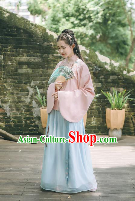 Traditional Chinese Ancient Hanfu Costume Palace Lady Dress, Asian China Ming Dynasty Princess Embroidered Blouse and Skirts for Women