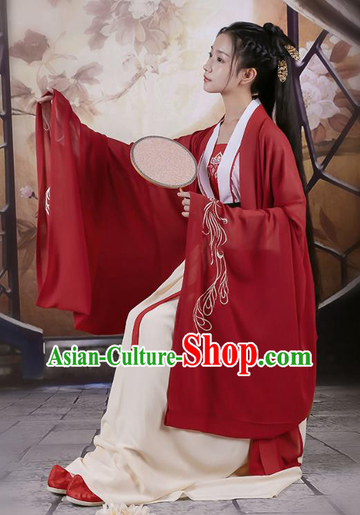 Traditional Chinese Ancient Hanfu Princess Costume Dark Red Embroidered Cloak, Asian China Jin Dynasty Palace Lady Cardigan Clothing for Women