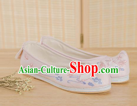 Traditional Chinese Ancient Hanfu Shoes, Asian China Han Dynasty Princess Shoes Embroidered Shoes Pink Blood Stained Shoes