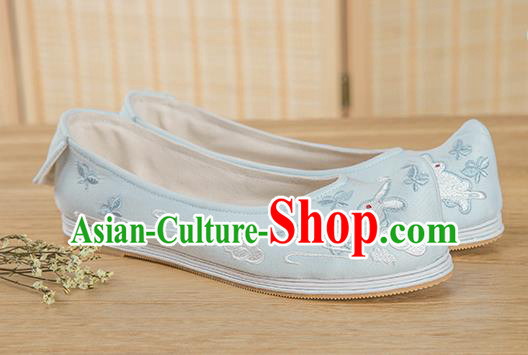 Traditional Chinese Ancient Hanfu Shoes, Asian China Han Dynasty Princess Shoes Embroidered Shoes Blue Blood Stained Shoes