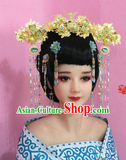 Traditional Handmade Chinese Hair Accessories Palace Lady Phoenix Coronet Complete Set, Royal Empress Hair Jewellery Hairpins for Women