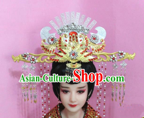 Traditional Handmade Chinese Hair Accessories Palace Lady Tassel Phoenix Coronet Complete Set, Royal Empress Hair Jewellery Hairpins for Women