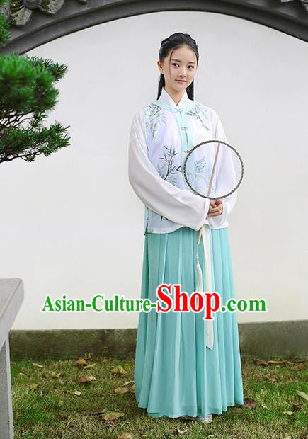 Traditional Chinese Ancient Hanfu Princess Costume Embroidered Bamboo Vest, Asian China Ming Dynasty Palace Lady Clothing for Women