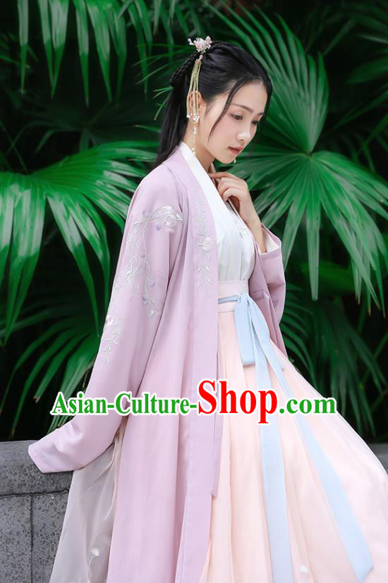 Traditional Chinese Ancient Hanfu Princess Costume Purple Embroidered Cloak, Asian China Song Dynasty Palace Lady Cardigan Clothing for Women