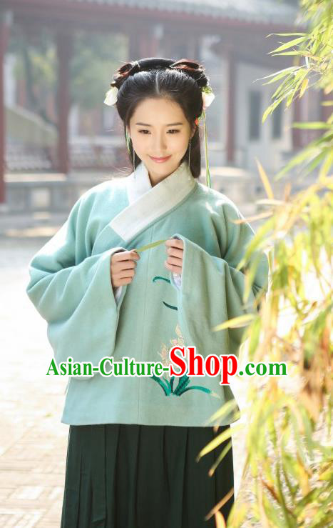 Traditional Chinese Ancient Hanfu Princess Costume Upper Outer Garment, Asian China Ming Dynasty Young Lady Embroidered Orchid Green Blouse for Women