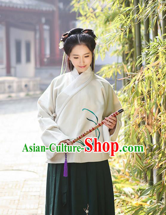 Traditional Chinese Ancient Hanfu Princess Costume Upper Outer Garment, Asian China Ming Dynasty Young Lady Embroidered Orchid White Blouse for Women