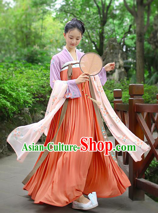 Traditional Chinese Ancient Hanfu Princess Costume Embroidered Red Slip Skirt, Asian China Tang Dynasty Palace Lady Clothing for Women