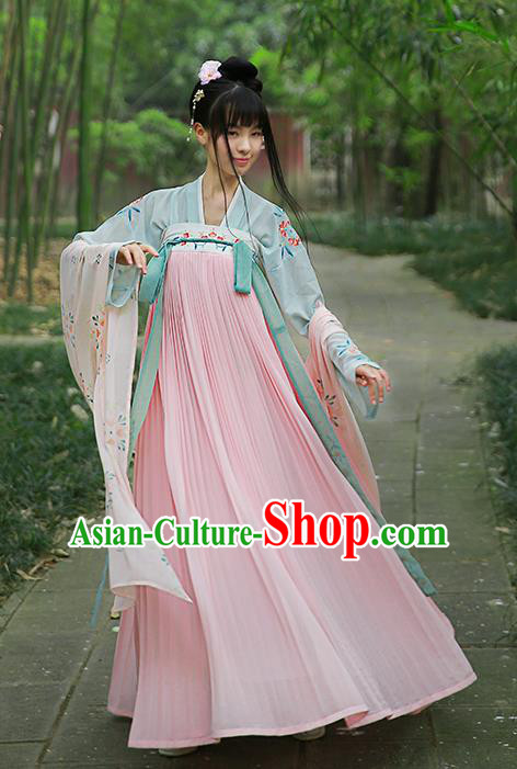 Traditional Chinese Ancient Hanfu Princess Costume Embroidered Pink Slip Skirt, Asian China Tang Dynasty Palace Lady Clothing for Women