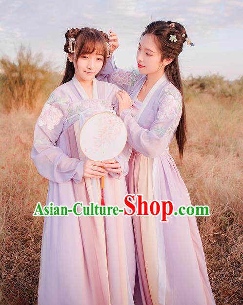 Traditional Chinese Ancient Palace Lady Costume, Asian China Tang Dynasty Princess Embroidered Dress Clothing for Women