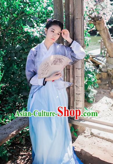 Traditional Chinese Ancient Palace Lady Costume, Asian China Tang Dynasty Princess Embroidered Slip Skirt Half-Sleeves for Women