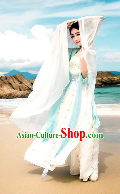 Traditional Chinese Ancient Palace Lady Costume, Asian China Song Dynasty Princess Embroidered Blouse and Skirts for Women
