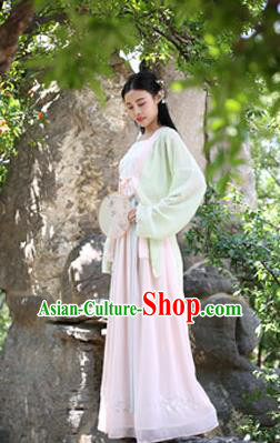 Traditional Chinese Ancient Palace Lady Costume, Asian China Song Dynasty Imperial Concubine Embroidered Blouse and Skirt Clothing for Women