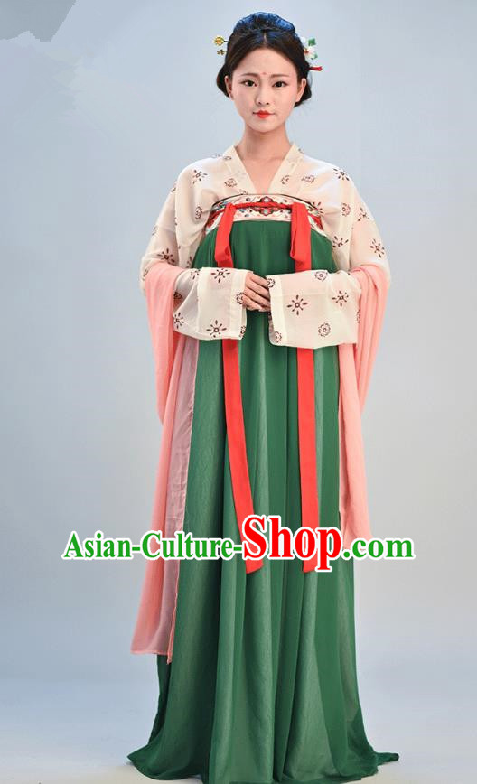Traditional Chinese Ancient Young Lady Costume, Asian China Tang Dynasty Imperial Consort Embroidered Green Slip Skirt Clothing for Women