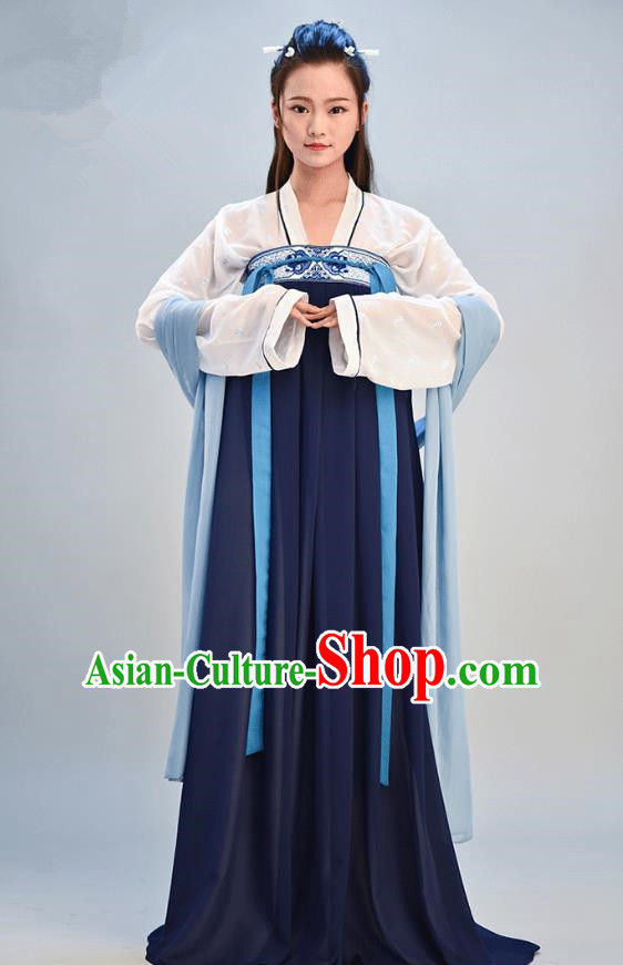 Traditional Chinese Ancient Young Lady Costume, Asian China Tang Dynasty Imperial Consort Embroidered Navy Slip Skirt Clothing for Women