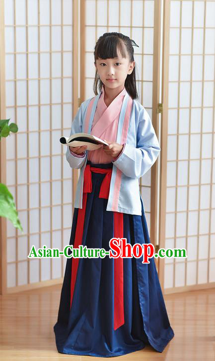 Traditional Chinese Ancient Hanfu Children Costume, Asian China Han Dynasty Princess Clothing for Kids
