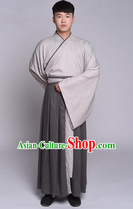 Traditional Chinese Ancient Hanfu Costume Long Robe, Asian China Han Dynasty Scholar Clothing for Men