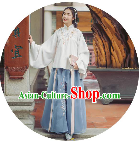Traditional Chinese Ancient Hanfu Princess Costume, Asian China Ming Dynasty Palace Lady Embroidered Chrysanthemum Dress for Women