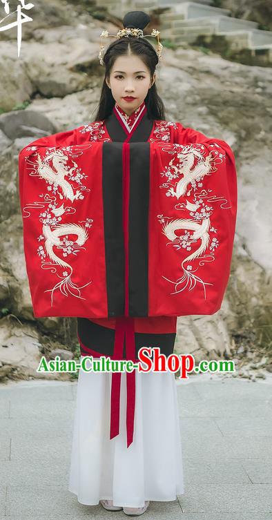 Traditional Chinese Ancient Hanfu Princess Costume Red Curve Bottom, Asian China Han Dynasty Palace Lady Embroidered Wedding Clothing for Women