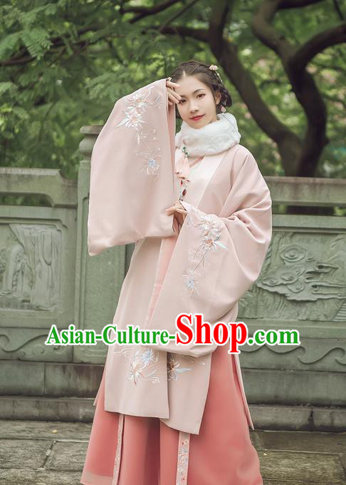 Traditional Chinese Ancient Hanfu Princess Costume Pink Cloak, Asian China Ming Dynasty Palace Lady Embroidered Cardigan Clothing for Women