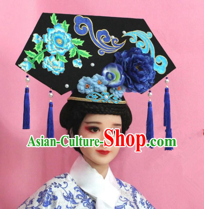 Traditional Handmade Chinese Hair Accessories Qing Dynasty Palace Lady Banners Headwear, Manchu Imperial Concubine Hairpins for Women