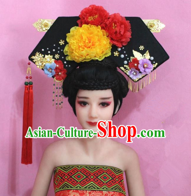 Traditional Handmade Chinese Hair Accessories Qing Dynasty Empress Banners Yellow Peony Headwear, Manchu Imperial Concubine Hairpins for Women