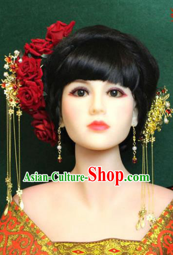 Traditional Handmade Chinese Hair Accessories Empress Red Rose Hair Stick, Tang Dynasty Princess Step Shake Hairpins for Women