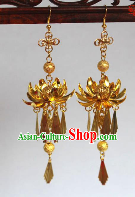 Traditional Handmade Chinese Accessories Tang Dynasty Empress Tassel Lotus Earrings for Women