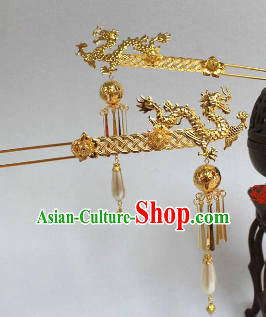Traditional Handmade Chinese Hair Accessories Empress Dragon Hairpins Tang Dynasty Palace Lady Tassel Step Shake for Women