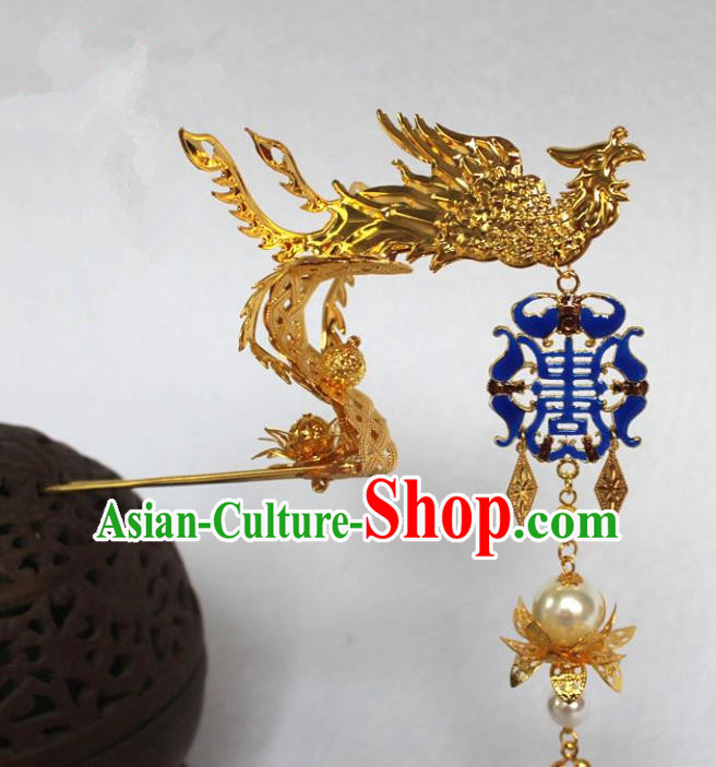 Traditional Handmade Chinese Hair Accessories Empress Dragon Blueing Hairpins, Tang Dynasty Palace Lady Tassel Step Shake for Women