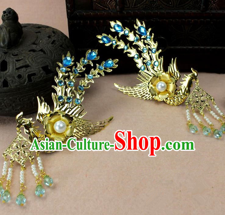 Traditional Handmade Chinese Hair Accessories Princess Golden Phoenix Hairpins, Ming Dynasty Palace Lady Blue Tassel Step Shake Frontlet for Women