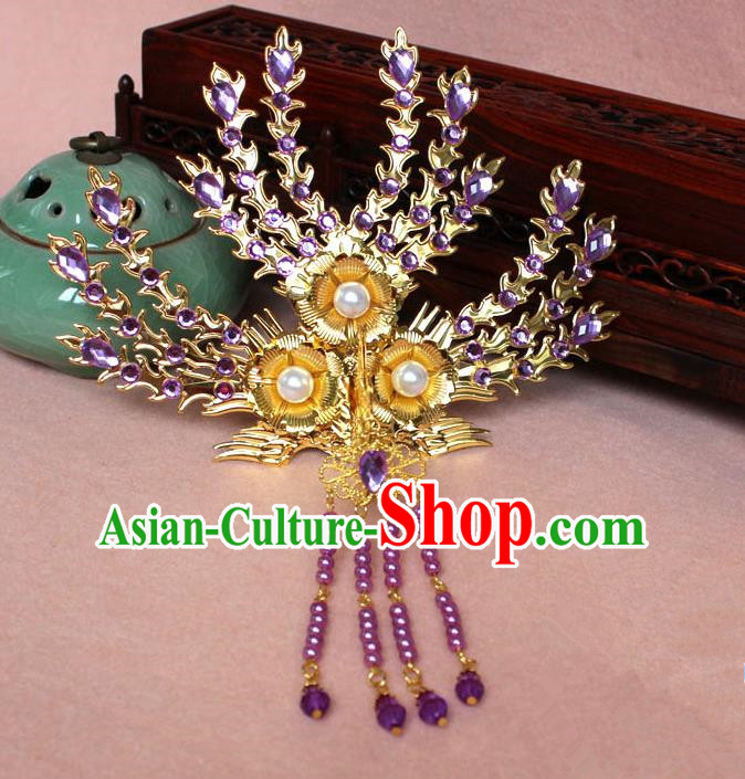 Traditional Handmade Chinese Hair Accessories Princess Golden Phoenix Frontlet Hairpins, Ming Dynasty Palace Lady Purple Tassel Step Shake for Women