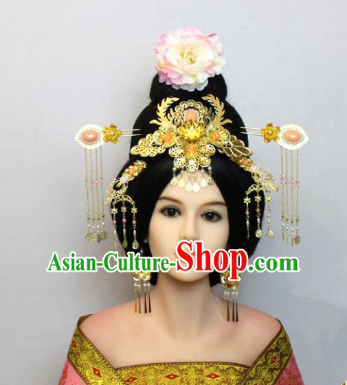Traditional Handmade Chinese Hair Accessories Tang Dynasty Empress Phoenix Coronet, China Palace Lady Hairpins Tassel Step Shake for Women