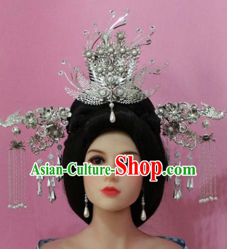 Traditional Handmade Chinese Hair Accessories Empress Phoenix Coronet, China Tang Dynasty Queen Hairpins Complete Set for Women