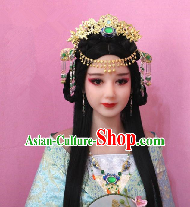 Traditional Handmade Chinese Hair Accessories Princess Phoenix Coronet, China Tang Dynasty Tassel Forehead Ornament Hairpins Complete Set for Women