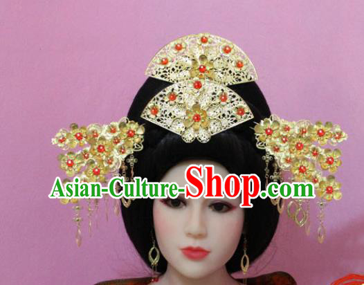 Traditional Handmade Chinese Hair Accessories Princess Phoenix Coronet Complete Set, China Han Dynasty Xiuhe Suit Hairpins for Women