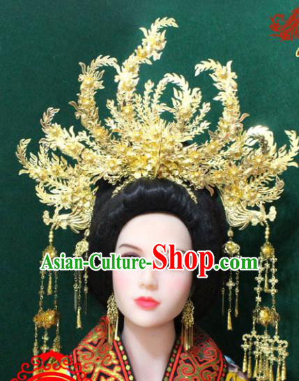 Traditional Handmade Chinese Hair Accessories Empress Phoenix Coronet, China Tang Dynasty Phoenix Tassel Hairpins for Women