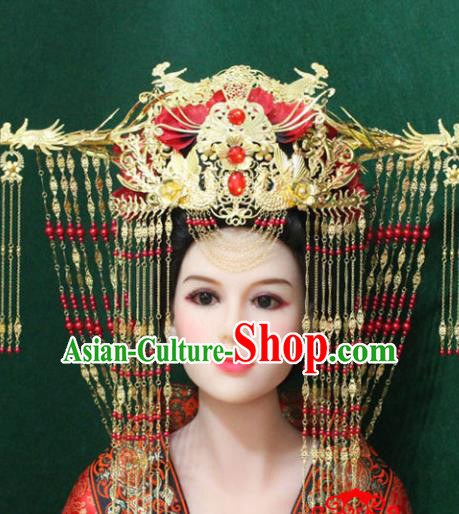 Traditional Handmade Chinese Hair Accessories Empress Wedding Phoenix Coronet, China Han Dynasty Bride Tassel Hairpins for Women