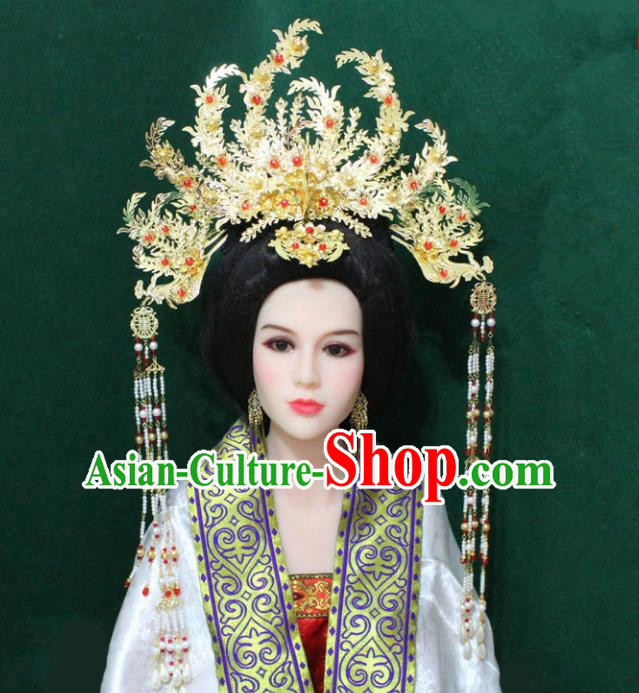 Traditional Handmade Chinese Hair Accessories Empress Golden Phoenix Coronet, China Tang Dynasty Queen Tassel Hairpins for Women